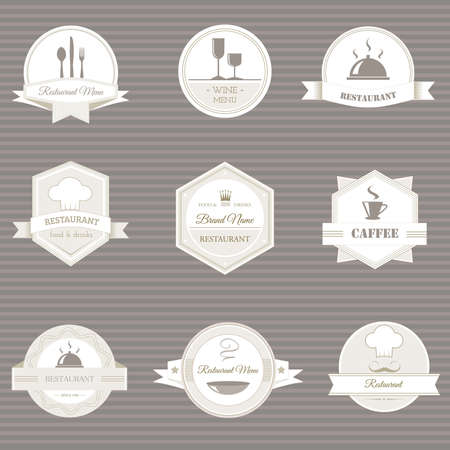 Collection of vintage retro grunge coffee and restaurant labels, badges and icons  Vector