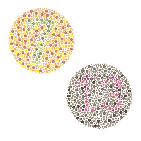 Ishihara Prueba de daltonismo, daltonismo prueba percepcion enfermedad Foto de archivo - 21772946