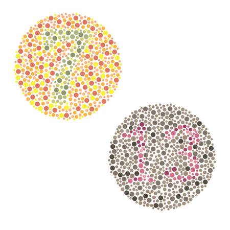 Ishihara Test daltonisme, kleurenblindheid ziekte percepcion-test Stock Illustratie