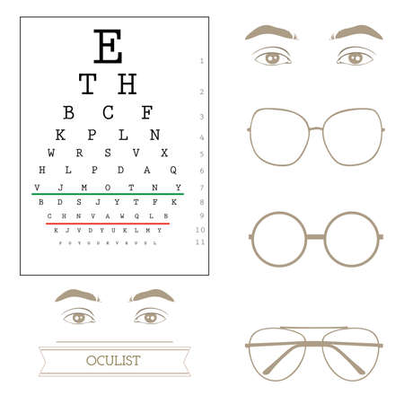 farsighted: Eyesight test chart, eyeglasses Illustration