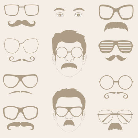 subculture: front profile faces with Mustaches, sunglasses, eyeglass  Illustration
