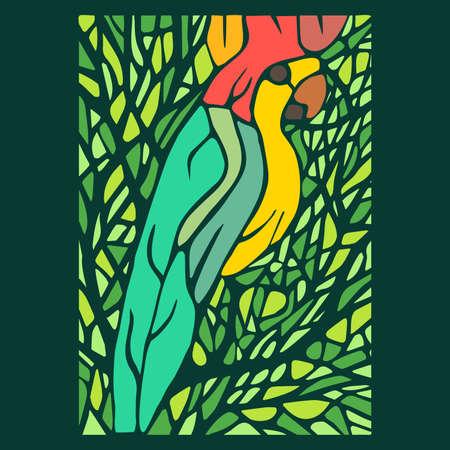 vetrate artistiche: Vetrata, pappagallo ai tropici