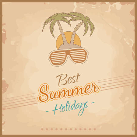 Summer background in retro style with sunglasses and palm trees  Vector