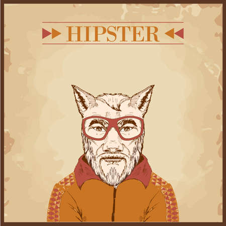 hipster animal charcter Vector