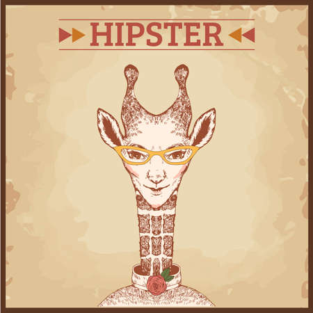 hipster animal charcter, giraffe Vector