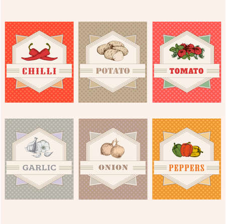 food packaging: vegetables set labels, garlic, tomato, potato, onion, chilly, pepper Illustration