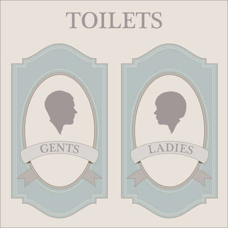 restroom sign: toliets, vintage woman and man silhuette heads
