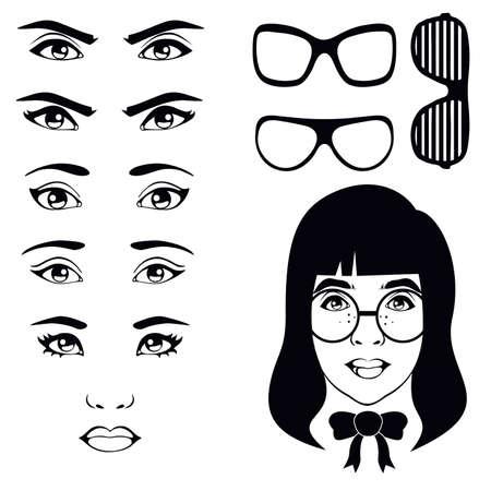 eye set, girl character Vector