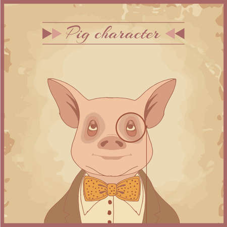 funny cartoon hipster pig animal character Vector
