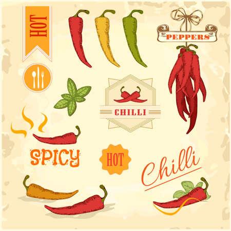 唐辛子、唐辛子、唐辛子野菜プロダクト ラベル包装デザイン 写真素材 - 23075805