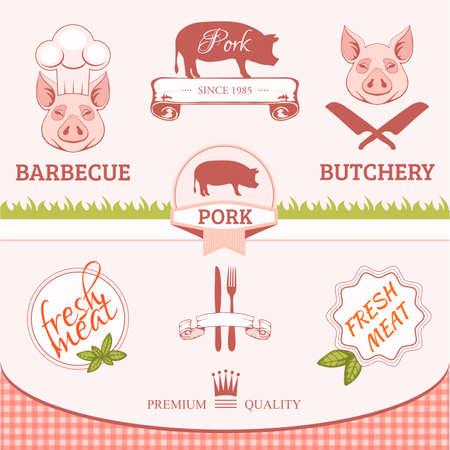 c�telette de porc: porc, animal silhouette, de conception de produits d'emballage des �tiquettes