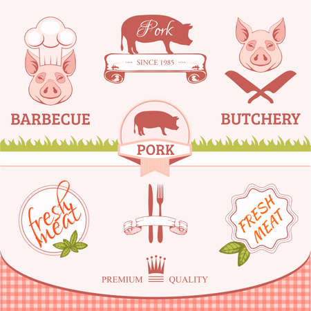 pig roast:  pork, pig, animal silhouette, product label packaging design