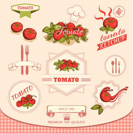 tomato vegetables, product label packaging design  Çizim