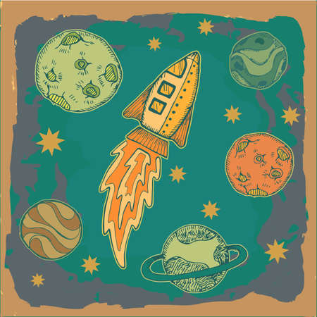 rocket and planets in outer space, science fiction cartoon childish illustration