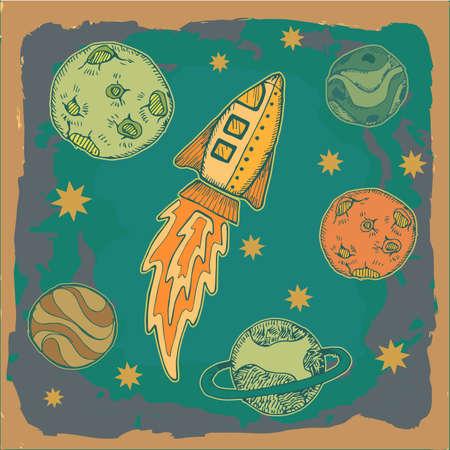 science fiction: raket en planeten in de ruimte, science fiction cartoon kinderachtig illustratie