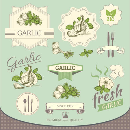 garlic spice, vegetables, background product, label packaging design