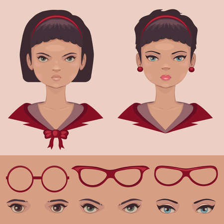 eyes , lips and hair, face parts, head character Vector