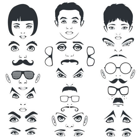 hair style collection: eye mustache lips and hair, face parts, head character
