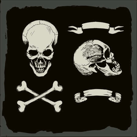 crossbones: skull and crossbones, on gunge background, pirate, heavy metal cover template Illustration