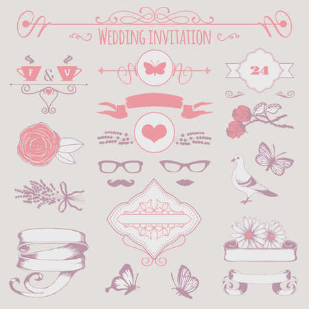 wedding invitation decorative elements, flowers, ribbons and frames