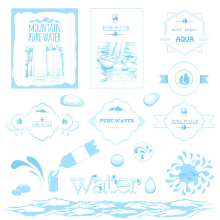 bottled water: water labels, drops, splash, mountain and waterfall landscape