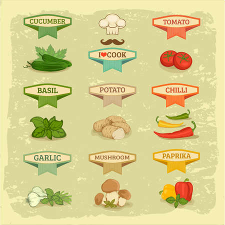 chilly: vegetables set labels, garlic, tomato, potato, basil, chilly, pepper, cucumber