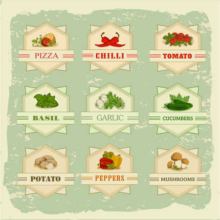 vegetables set labels, garlic, tomato, potato, basil, chilly, pepper, cucumber Vector