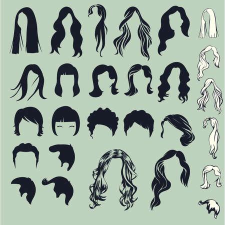 髪のシルエット、女性の髪型