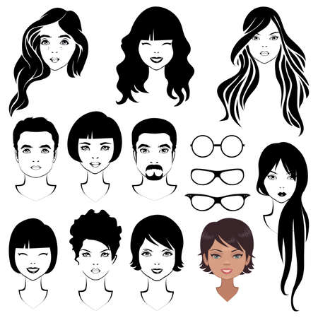 human face: eye mustache lips and hair, face parts, head character