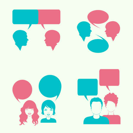 vector dialog bubble, couple head silhouette,