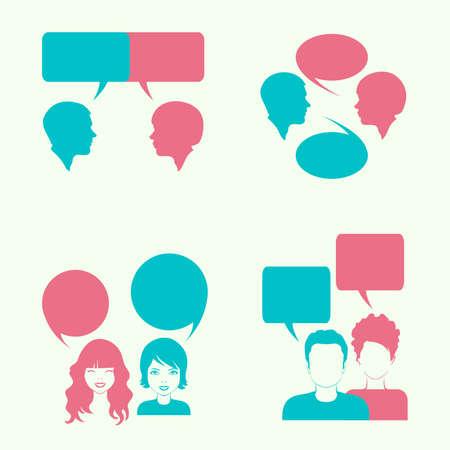 dialog bubble: vector dialog bubble, couple head silhouette,