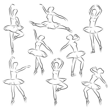bodies: ballet  outline ballerina dancer figure Illustration