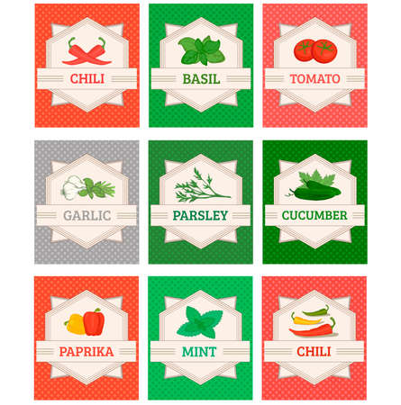 vegetables and spices set labels, garlic, tomato, basil, chili, pepper, cucumber,mint, paprika and basil Vector