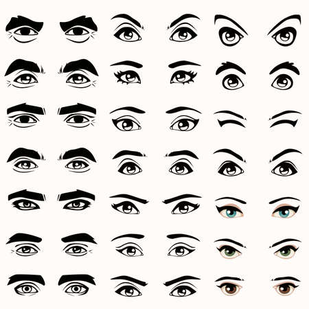 close icon: female and male vector eyes and eyebrows silhouette,