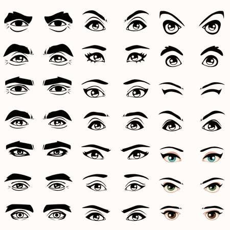 eyes: vrouwelijke en mannelijke vector ogen en wenkbrauwen silhouet,