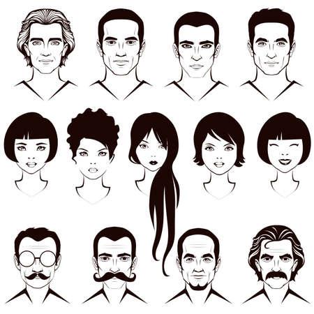 viso uomo: labbra baffi occhi e capelli, parti del viso, carattere testa