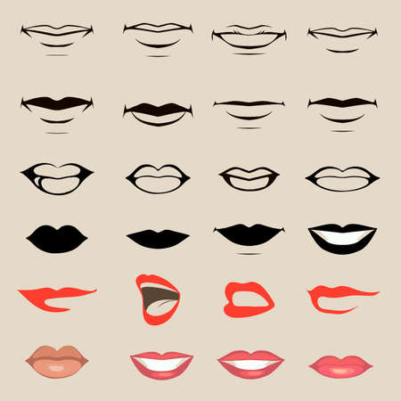 boca cerrada: los labios y la boca vector, silueta y brillante, abierto y de cerca, hombre y mujer partes de la cara Vectores