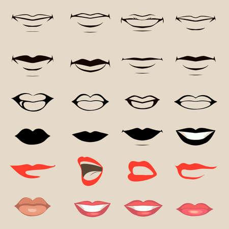 vector lippen en mond, silhouet en glanzend, open en close-up, man en vrouw gezicht onderdelen