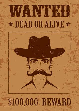 Westlichen Vektor-Plakat, wollte, tot oder lebendig, Weinlese-Cowboy Gesicht, Standard-Bild - 26078362