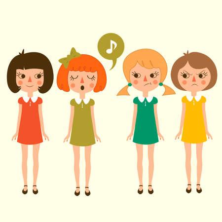 girl singing: singing cartoon girls character, vector funny and cute kids