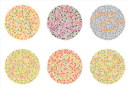 examen de la vista: Daltonismo Prueba de Ishihara, prueba de percepción de la enfermedad de la ceguera al color