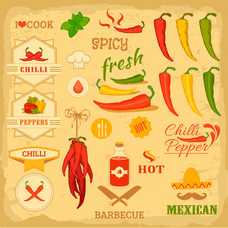 cayenne pepper:  chilli spice, chili, isolated pepper vegetables, mexican food label design