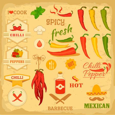 pimenton: especias de chile, chile, aislados vehículos de la pimienta, diseño mexicano etiqueta de los alimentos