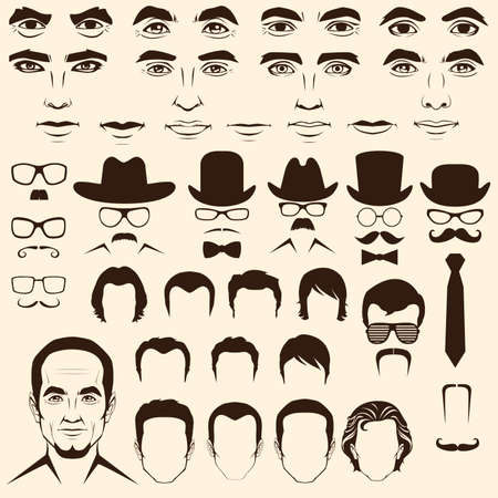 vector men  eye, mustache, glasses, hat, lips and hair, face parts, head character Illustration