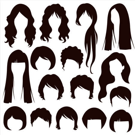 hair silhouettes, woman hairstyle Vector