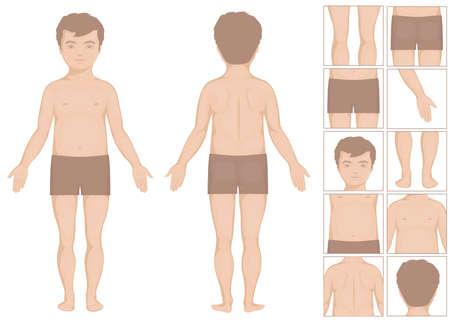 人間や少年ボディパーツ、子供のためのベクトル漫画イラスト  イラスト・ベクター素材