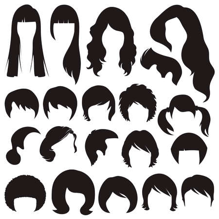 hair silhouettes, woman and man hairstyle Vector