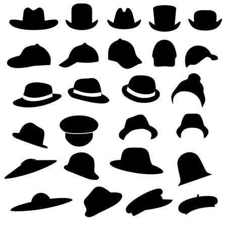 bowler hat: vector collection of hats silhouette