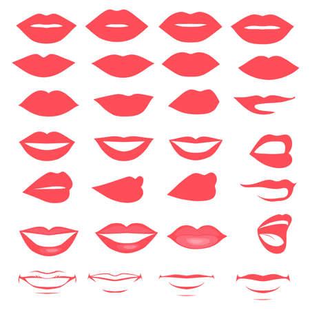 sorridente: lábios e boca, silhueta e brilhante, abrir e fechar-se, o homem ea mulher da face peças Ilustração
