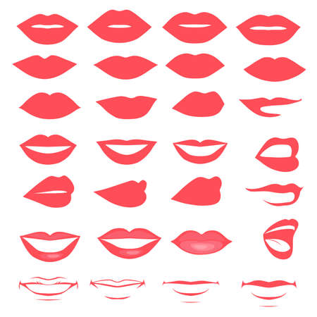 lips and mouth,  silhouette and glossy, open and close up, man and woman face parts Vector